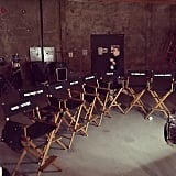 Singer snapped a picture of the chairs on the set when filming first began.