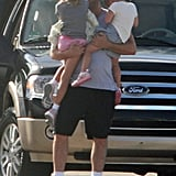 Ben Affleck welcomed Seraphina Affleck and Violet Affleck to the set of Runner, Runner.