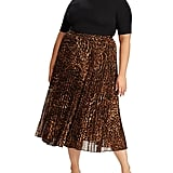 Lauren Ralph Lauren Plus Size Animal-Print Pleated Georgette Skirt