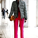 Bold pants and cozy outerwear paired perfectly in this mix.