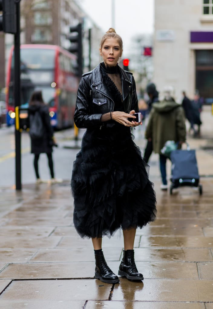 Ground Your Cocktail Dress With Boots And A Biker Jacket