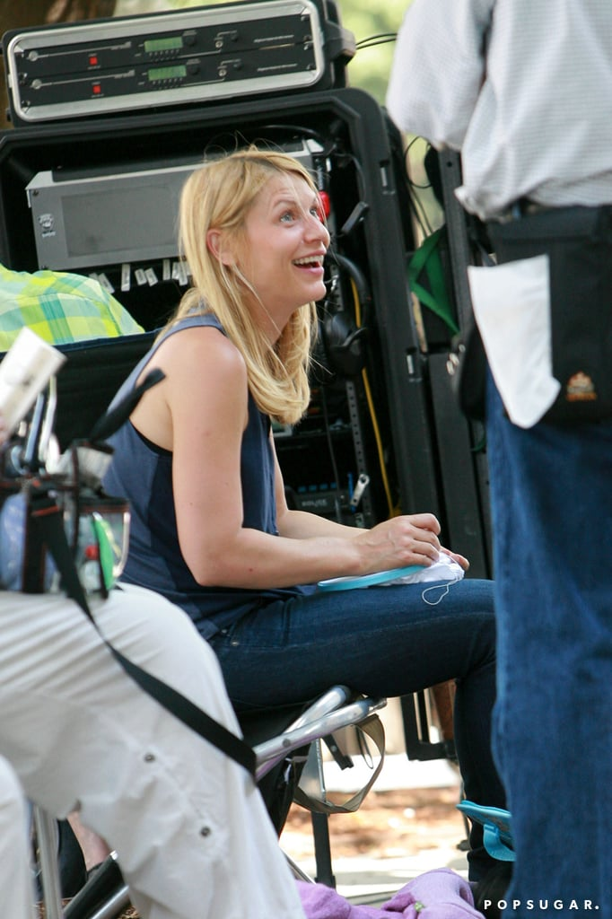 Claire Danes did embroidery during a filming break.