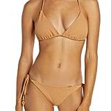 Luli Fama Jagged Bombshell Triangle Bikini Top and Ruched Bikini Bottoms