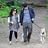 Channing Tatum held hands with Jenna Dewan for a walk with their dogs in London.