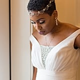 Natural and Short With Dainty Headpiece