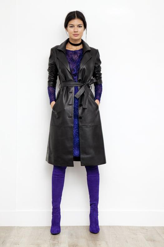 Leather Trench Coat in Black, Starburst Devore Velvet Dress in Electric Blue, Sweet Revenge Stretch Suede Legging Boot in Purple. Photo courtesy of Tamara Mellon