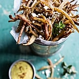 Greek Feta Fries With Roasted Garlic Saffron Aioli