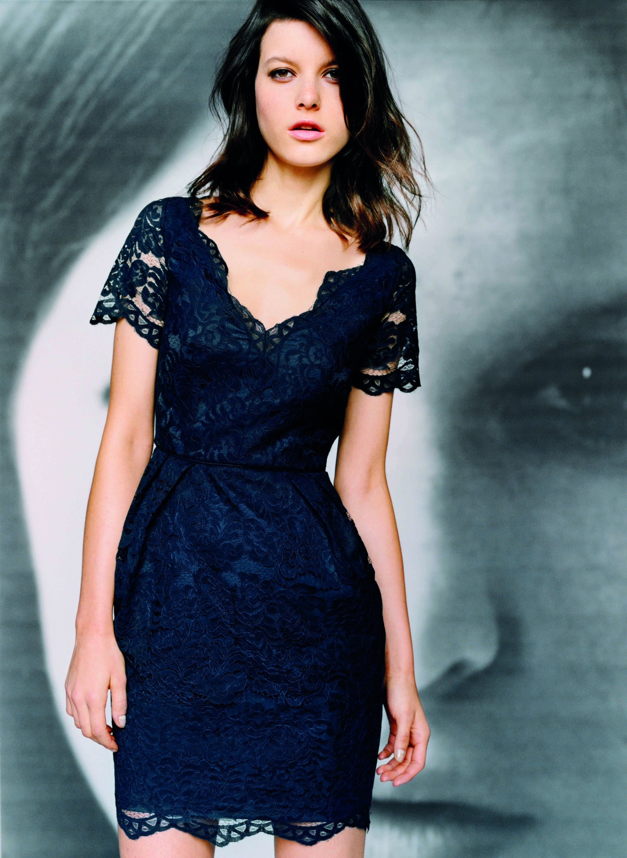 Lace dress in French blue, $199