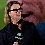 Brad Pitt attended at a Seoul press conference for his movie Moneyball.