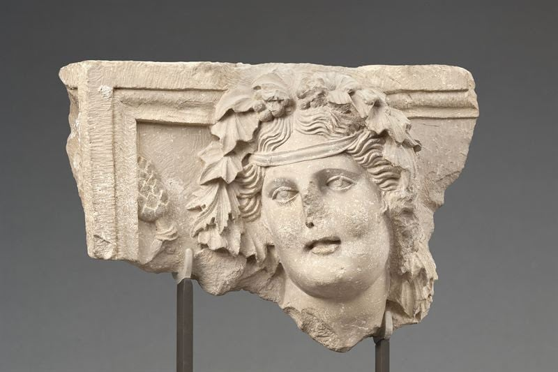 Panel with head of Dionysus Dushara from the Temenos precinct