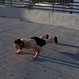 Push-Up With Backsit Into a Frog Jump