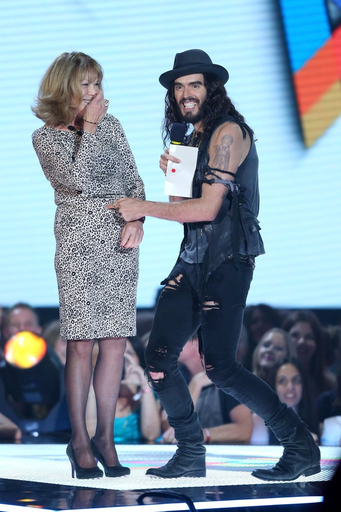 Russell Brand brought his mum, Barbara, with him to Australia, where he presented at the ARIAs on November 29 (left), and will commence his stand-up tour this week.