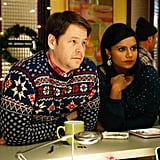 """Mindy (Mindy Kaling) and Morgan (Ike Barinholtz) in the holiday-themed episode """"Christmas Party Sex Trap,"""" airing Dec. 3."""