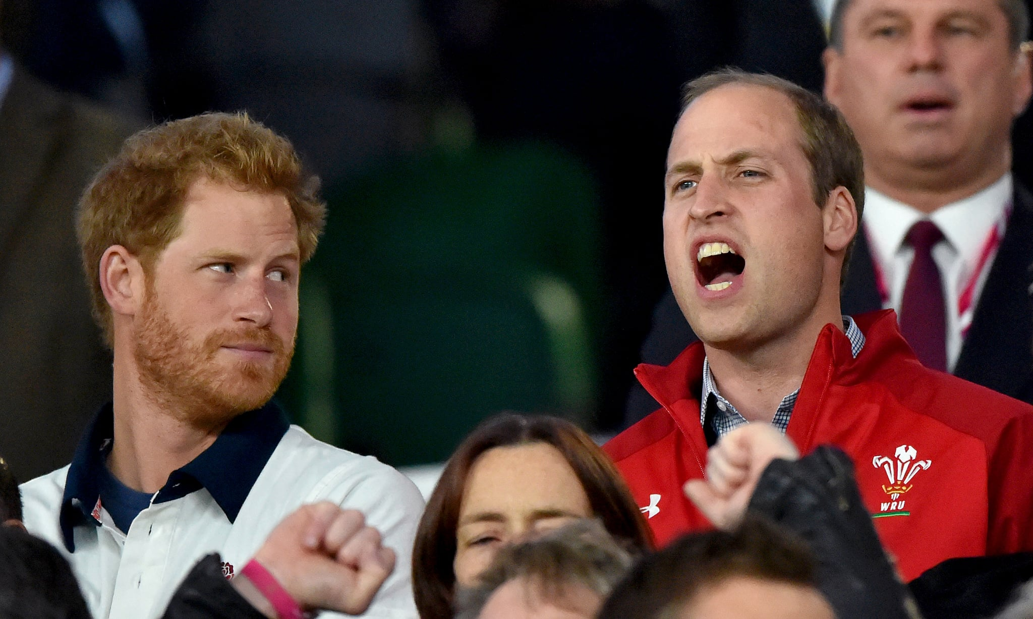 Harry Gave William A Funny Look While Taking In The Rugby World Cup Prince William And Prince Harry S Cutest Moments Together Through The Years Popsugar Celebrity Photo 42