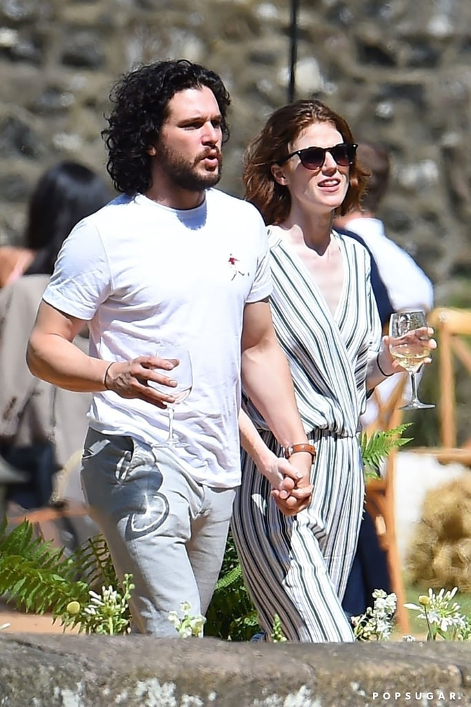 "Kit Harington and Rose Leslie are keeping the festivities going even after their wedding. After tying the knot over the weekend, the couple were spotted enjoying a post-wedding lunch with family and friends at Wardhill Castle in Aberdeenshire, Scotland, on Monday. The two had that newlywed glow as they sipped on drinks, held hands, and stared lovingly into each other's eyes. Seriously, could they be any cuter?  Not only was their wedding picture-perfect, but it also served as a huge Game of Thrones reunion. The pair, who first met on the set of the HBO series, were surrounded by their fellow costars as they said ""I do"" at Rose's family home. See even more of their loved-up outing as a married couple ahead, and prepare to have your heart turn to mush.       Related:                                                                                                           Yes, Kit Harington and Rose Leslie Are Wildly in Love Off Screen"