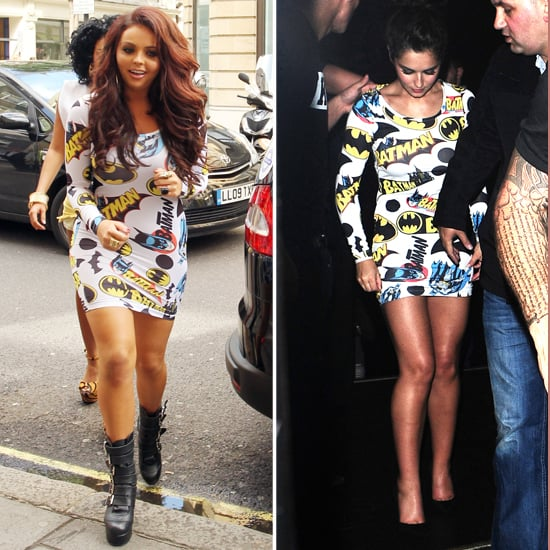 Cheryl Cole and Jesy Nelson in Lazy Oaf Batman Dress