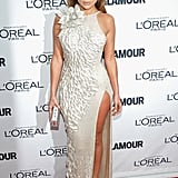 Jennifer Lopez Wearing Donatella Versace to the 2011 Glamour Women of Year Awards