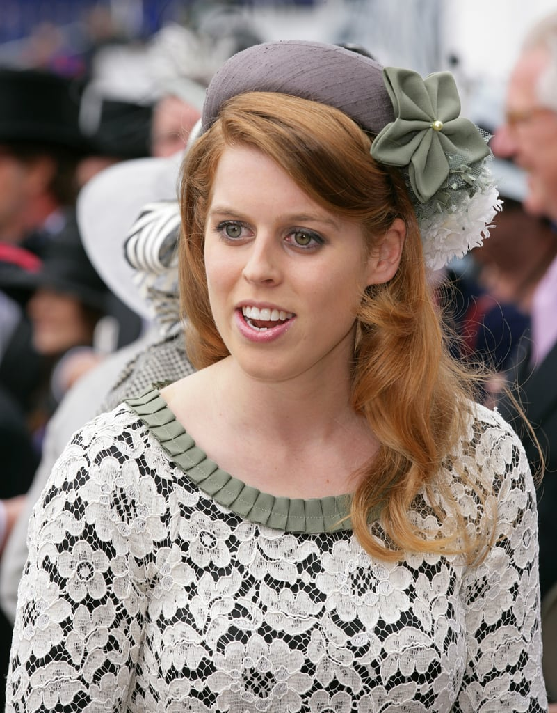 Beatrice in sage and gray Stephen Jones for the Epsom Derby in 2012.