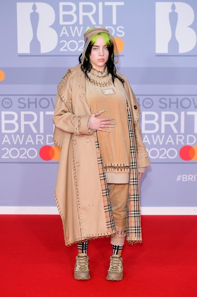 Billie Eilish Rocked Burberry Nail Art at 2020 BRIT Awards