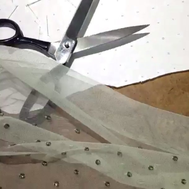 Wes Gordon filmed the pretty process of creating his Swarovski dress in stop motion. Source: Instagram user wes_gordon