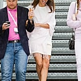 Eva Longoria wore a white dress on the second day of the festival.