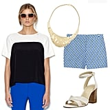 Play it cool in a mix of prints and colorblocking by pairing quirky shorts with a more sophisticated take on neutral two-tones on top. To finish off the casual look, add sleek accents via a statement collar necklace and white sandals. Get the Look:   J.Crew Printed Cotton-Twill Shorts ($60)  Vince Camuto Handkerchief Hem Blouse ($79)  Aldo Lukats Necklace ($18)  Nine West Vanbra Sandals ($85)