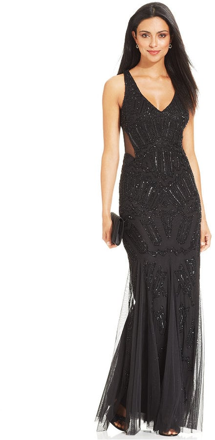 Adrianna Papell Sleeveless Beaded Mermaid Gown | Best Black Gothic ...