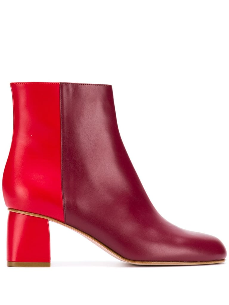 Red Valentino Two-Tone Zipped Booties