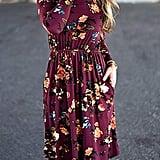 ZESICA Floral Pleated T-Shirt Dress