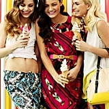 From left: Kendall wears Kenji Printed Pants, $59.95, and Miss Shop Threaded Necklace, $24.95. Rachel wears Kenji Cut Out Dress, $59.95 and Miss Shop Neon Belt $19.95. Alexandra wears Kenji Block Sleeveless Shirt, $49.95, Kenji Stove Pipe Jean with Print, $69.95, and Miss Shop Archie Tote, $59.95