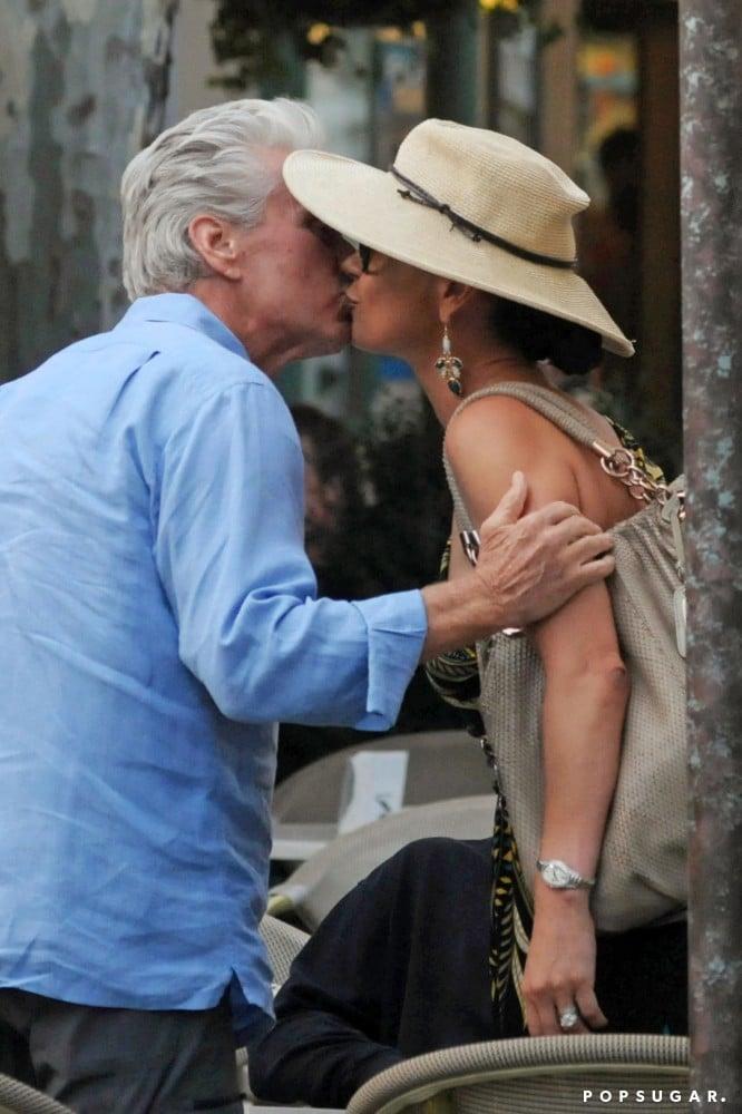 Michael Douglas gave Catherine Zeta-Jones affection in Italy in July 2010.