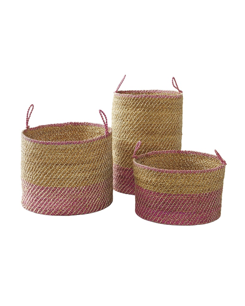 Woven baskets are always useful clutter control vessels and perfect homes for loose items like blankets, toys, and shoes. This set of three Laguna Seagrass Baskets ($228 for the set of 3) also adds a pop of color and texture to a space.