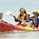 Elle MacPherson stayed safe in a life vest.