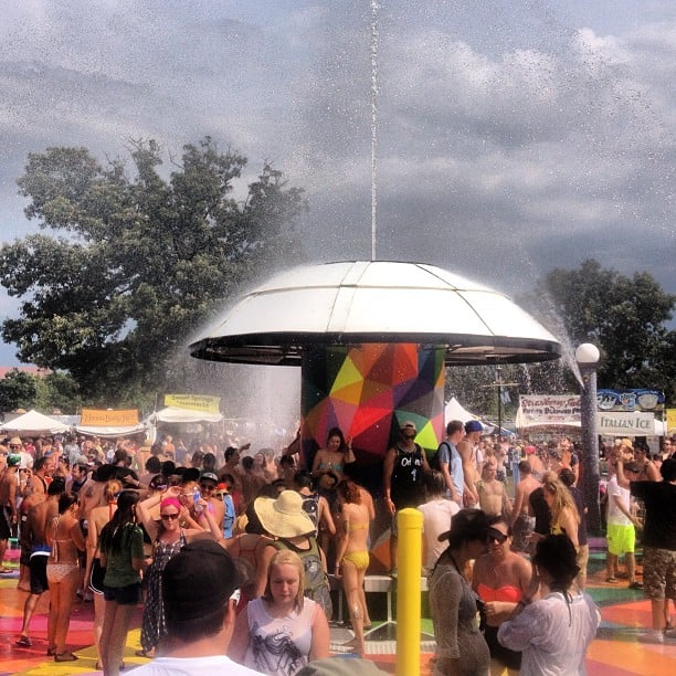 One of the best (and most fun) ways to refresh at Bonnaroo is the fountain in the heart of it all, Centeroo. Source: Instagram user popsugarfashion