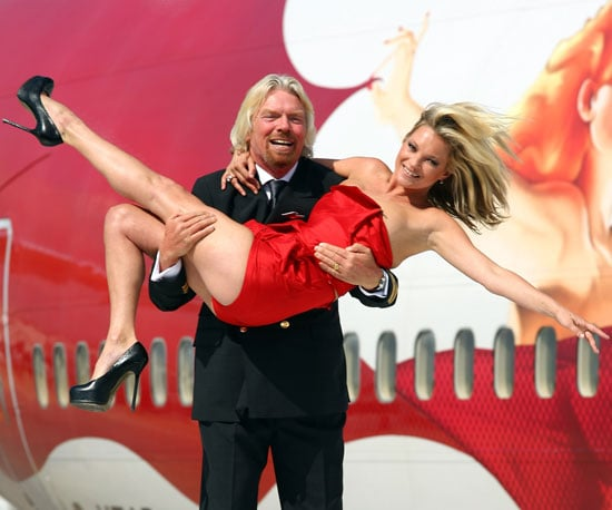 Photo Slide of Richard Branson and Kate Moss Celebrating Virgin Atlantic's 25th anniversary at Heathrow