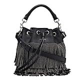 Saint Laurent Small Stud Fringe Bucket Shoulder Bag, Black ($4,250)
