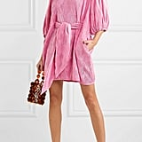 Belted Plissé-Satin Mini Dress ($300.30)