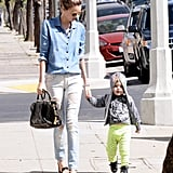 Miranda Kerr held hands with Flynn Bloom.