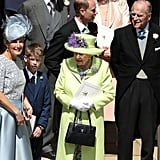 The queen was seen leaving the wedding of Prince Harry and Meghan Markle with her youngest grandchild, James, Viscount Severn.