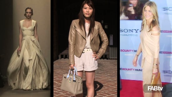 Summer Trend: Jennifer Aniston, Kristen Bell, and Maggie Gyllenhaal in Nude Colors and Neutral Hues