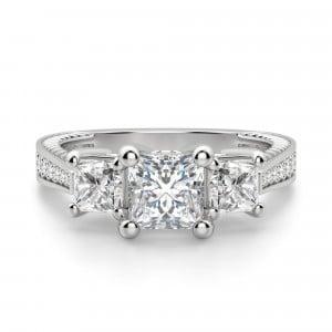 Diamond Nexus Sage Three Stone Princess Cut Engagement Ring