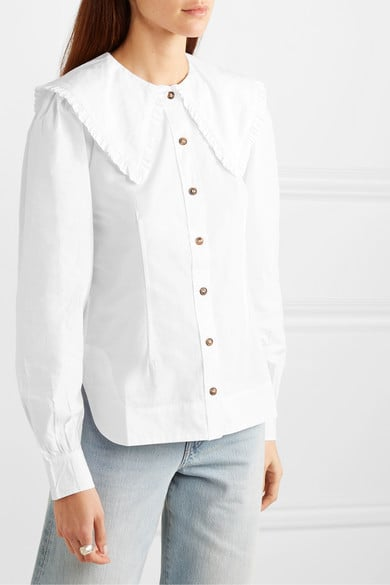 Ganni Ruffle-Trimmed Cotton-Poplin Blouse
