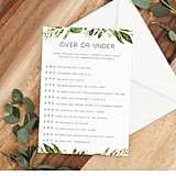 Bridal Over or Under Printable Game