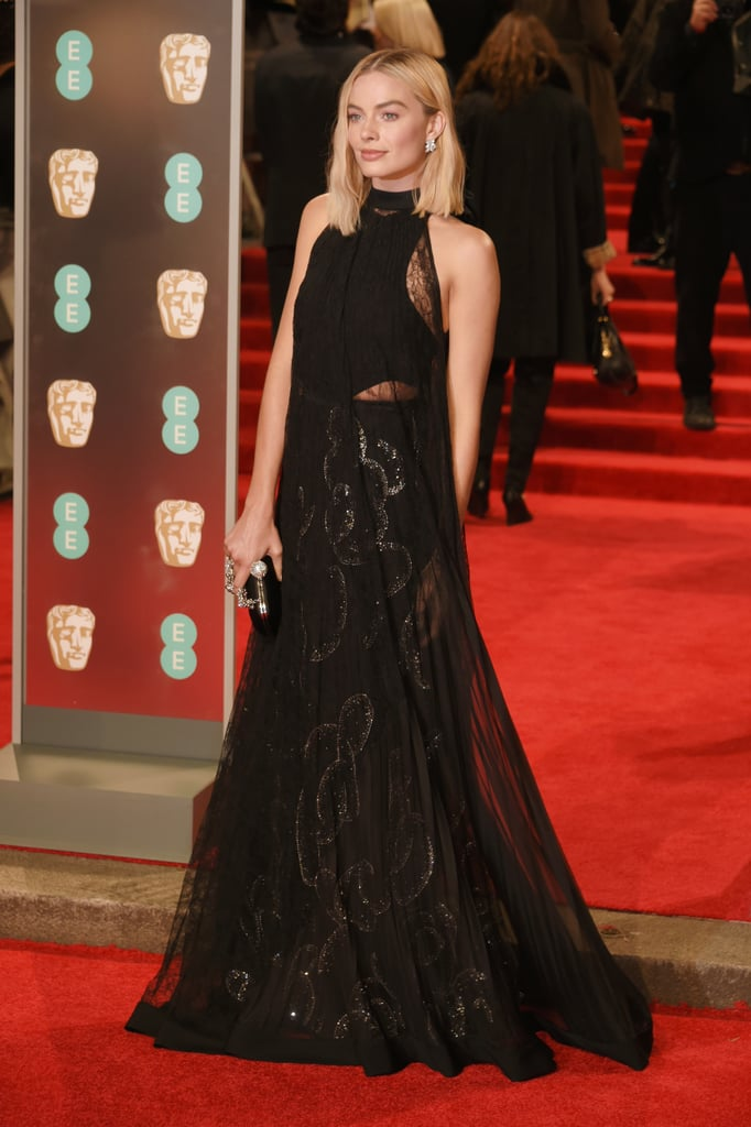 Margot got vampy at the BAFTA Awards in a Givenchy Haute Couture gown, which featured cutouts and a sheer overlay.