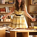 Zooey Deschanel maintains her signature brand of quirky-cool in a lightly hued fit-and-flare dress. Photo courtesy of FOX/FX