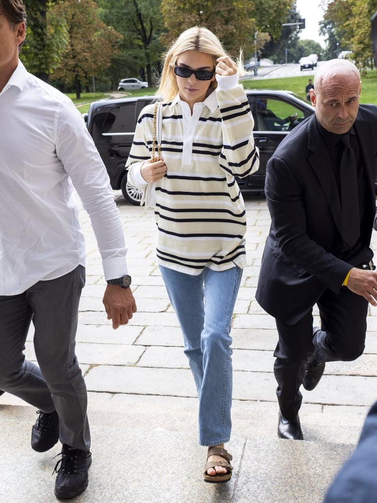 Kendall Jenner Out and About in a Casual Oversized Polo and Jeans at Milan Fashion Week Spring/Summer 2020