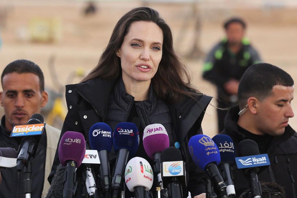 Angelina Jolie Wearing a Black Coat in Jordan