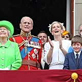 Queen Elizabeth enjoyed Trooping the Colour in 2016 with her youngest grandchildren, James, Viscount Severn, and Lady Louise Windsor.