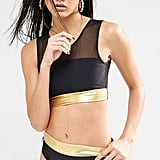 Quontum Mesh and Gold Crop Bikini Top (£12) and Matching Bottoms (£9)