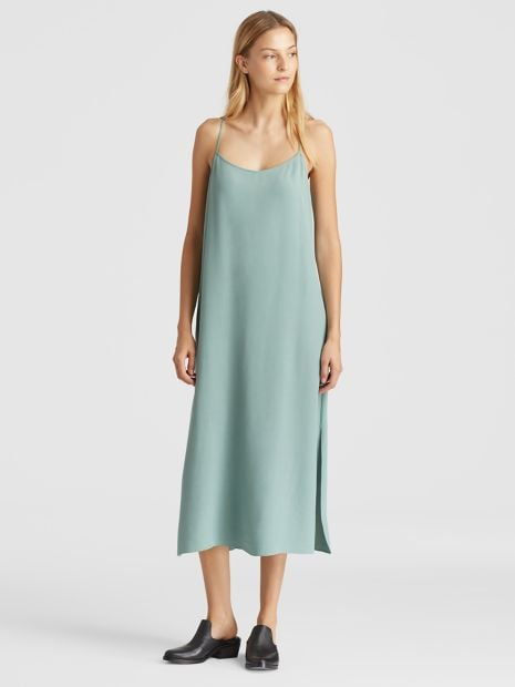 e210bcaf3245 Eileen Fisher Plus Tencel Viscose Crepe Slip Dress | How to Wear a ...